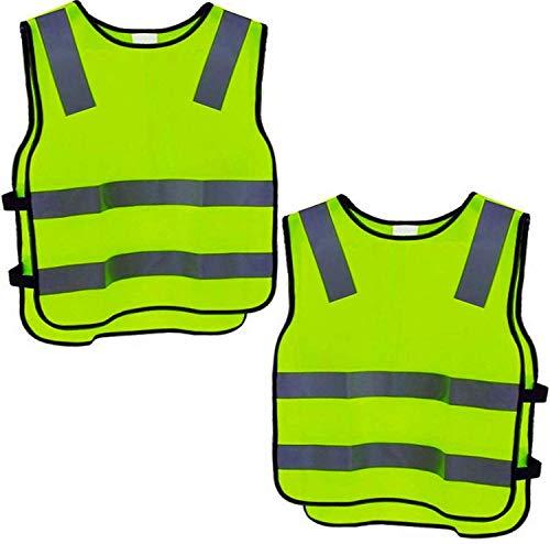2 Warnweste Kinder Sicherheitsweste Gelb Stark Sichtbar - Atmungsaktiv - Universal Größe Schutz für Jungs Mädchen
