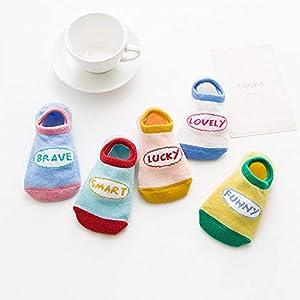 RUOHAN Kinder Socken 5 Paar Kindersocken Baumwollkindersocken Baumwollbootsocken Letter Words Sports Unsichtbare Socken
