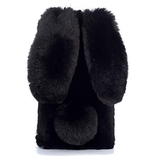 Nadoli Galaxy A10 Hase Pelz Hülle,3D Kaninchen Ohr Case Warme Winter Flauschige Plüsch Schutzhülle Handy Schale Tasche Soft Haut für Samsung Galaxy A10,Schwarz