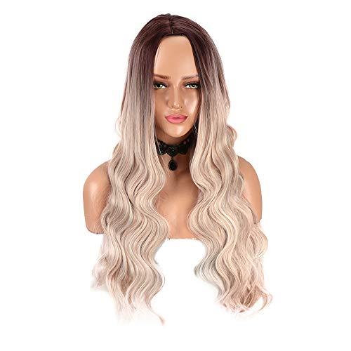 Lange natürliche Ombre blonde lockige Perücken für Damenmode braune Wurzel gemischte Farbe Abendkleid synthetische Perücke 24 Zoll hitzebeständige Mittelteil Perücke