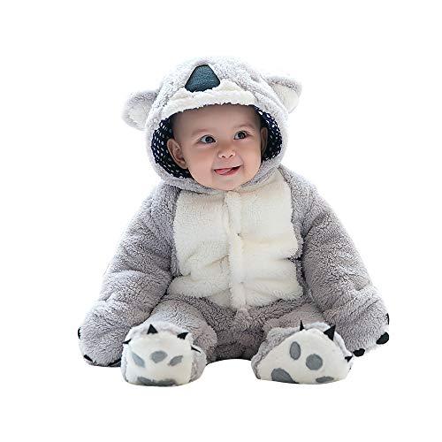 Mikistory bambino infantile neonato animale inverno cappuccio onesies snowsuit grigio koala 0-3 mesi
