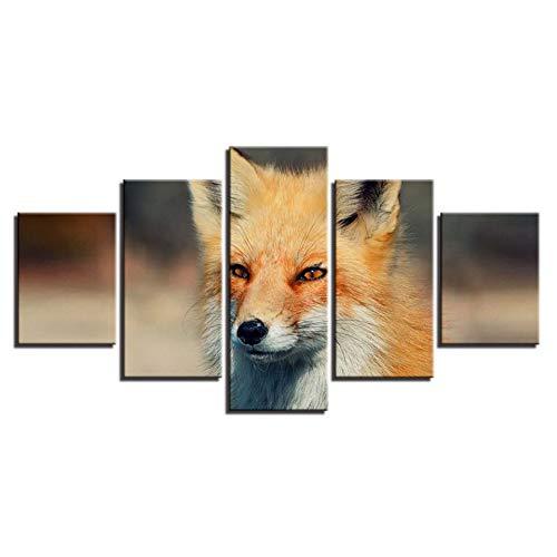 YXWLKG 5 aufeinanderfolgende Gemälde Moderne Leinwand HD Gedruckt Gemälde Modulare Wandkunst Poster Wohnkultur 5 Stücke Tiere Fuchs Bilder Für Wohnzimmer