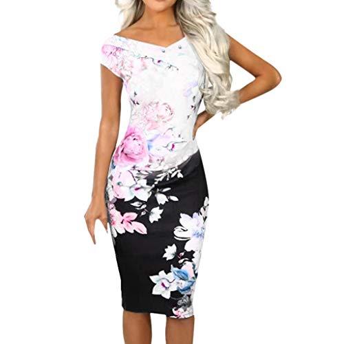 SHE.White Damen Blumendruck Ärmellos V-Ausschnitt Kleid Sommer Offener Rücken Knie Mini Kleid Sommerkleid Kurze Elegant Party Strandkleid