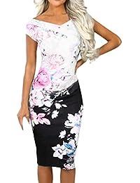 LMMET Vestito Donna Elegante Cerimonia da Sera Aderente Vestiti Donna  Aderenti Sexy Ufficio Abito Donna Floreale 4ec2fe24f69