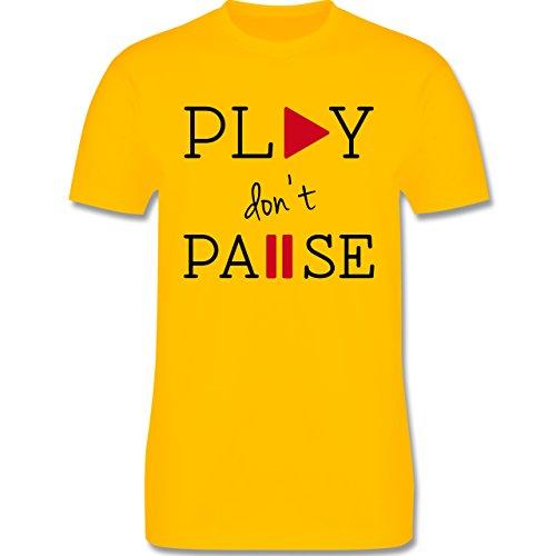 Statement Shirts - Play don't Pause - Herren Premium T-Shirt Gelb