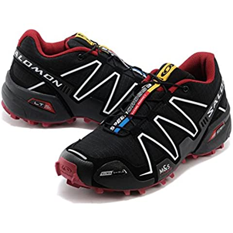 Salomon Mujer 's Speed Cross 3 Trail Running Shoes Breat heable unidad Sport Guantes Footwear Light Runner Sneakers Trainers Cushioning Racing Athletic Jogging Run Competición Black Red, mujer, negro y rojo,
