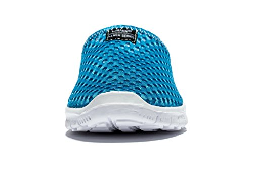 Viihahn Uomo Estate Mesh Traspirante Beach Aqua Walking Pantofole Anti-Slip Blu