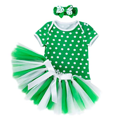 k Dreiteiliges Set Kurzarm Dot Printed Romper + Tutu Rock 3 PCS Kleinkind Baby MäDchen Outfits Set 3-18M(Grün,59) ()