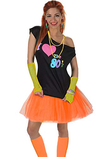 Fun Daisy Clothing Damen I Love The 80er Jahre T-Shirt 80er Jahre Outfit Zubehör, Gelb - UK 12-14 / S-M (S 80 Party-outfits)