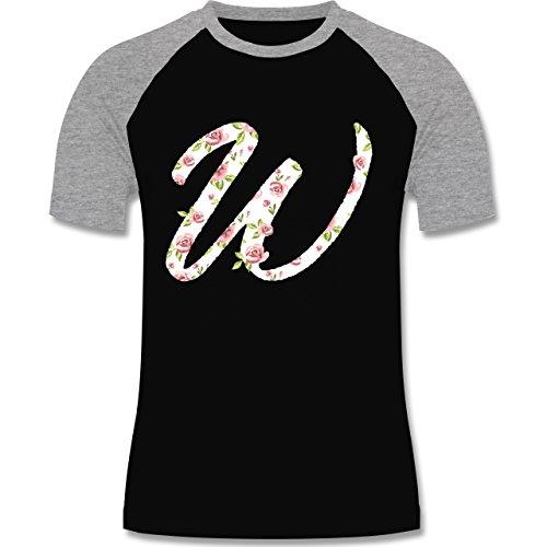 Anfangsbuchstaben - W Rosen - zweifarbiges Baseballshirt für Männer Schwarz/Grau Meliert
