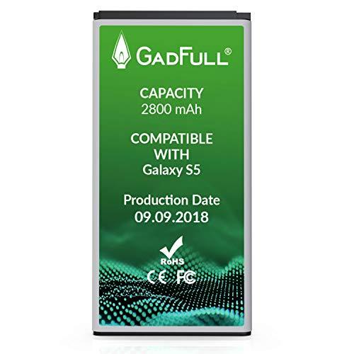 GadFull Batteria compatibile con Samsung Galaxy S5 | 2018 Data di produzione | Corrisponde al EB-BG900BBE EB-BG900 originale | Compatibile con Galaxy S5 SM-G900F