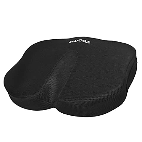 MAYOGA Memory Foam Seat Cushion Coccyx Orthopedic, Upgraded Butterfly-shaped Coccyx Pillow Comfort Car Seat Cushion with Cool Breathable Mesh Cover Lower Back Lumbar Tailbone Sciatica Pain Relief Custion Chair Cushion for Home Office Car Seat Chair