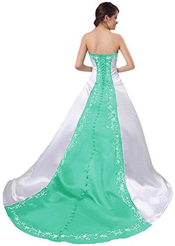APXPF Damen Satin Stickerei Brautkleid mit Kapelle Zug 18 Plus Weiß und Minze