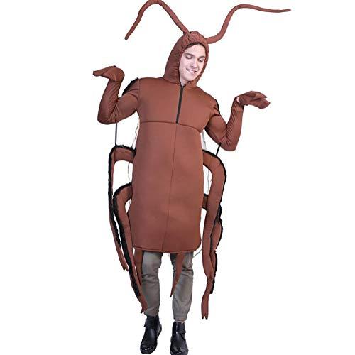 SHANGLY Erwachsene Schabe Cosplay Kostüm Unisex Halloween Karnevalsfeier Gruseliges Tier Onesies Jumpsuit Kostüm,Brown
