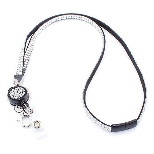 Soleebee 80cm Bling Strass Leder Schlüsselband Umhängeband Lanyard mit JoJo ID Badge Holder mit Karabinerhaken Schlüsselring versenkbarem Abzeichenhalter Schlüsselanhänger (Weiß) -