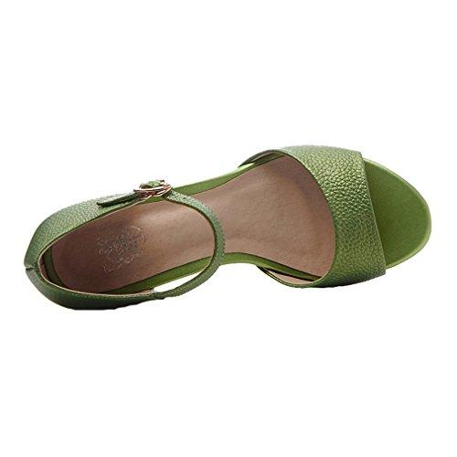 ENMAYER Femmes Bracelet à Cheville Rétro Nubuck Boucles de Soie en Cuir Bloc à Talons Hauts Chaussures à Talons Ouverts Chaussures à Talons épais Vert#103