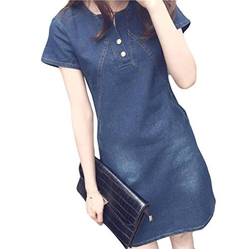 Women Plus Size Dress - Saihui Sexy V Neck Short Sleeves Evening Korean Casual Denim A-Line Dresses