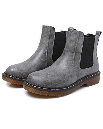 Minetom Donna Autunno Inverno Scarpe da Moda Stivaletti Scarponcini Chelsea Low boots Stivali Cavaliere Grigio