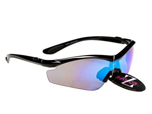 Rayzor Professionelle Leichte UV400 Schwarz Sports Wrap Schifahren Sonnenbrille, With Blue Iridium Mirrored Blend Lens.