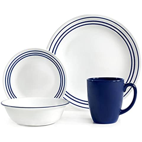 Corelle Livingware 16 Piece Set Jett Blue, Service for 4, includes 4each of 10.25 inch Dinner Plates, 6.75 inch Bread and Butter Plates, 18ounce Soup/Cereal Bowls, 11 ounce Stoneware Mug by CORELLE