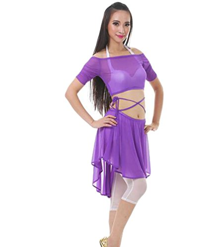 ZhiYuanAN 4Pcs Costume De Danse Du Ventre Set épaule Plat Tops & Soutien-Gorge & Jupe & Pantalon Set MidViolet