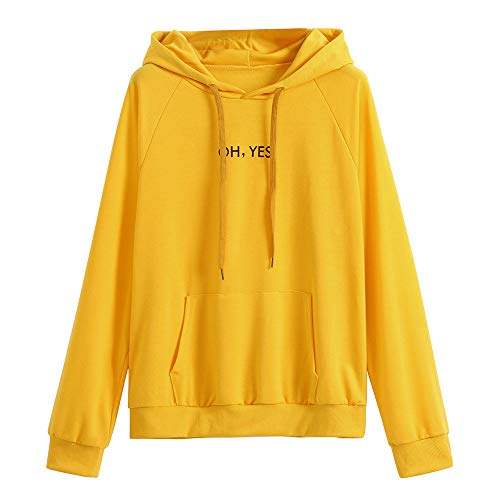 Orderking Damen Kapuzenpullover Winter Warm Langarm Hoodie Pullover Fashion Drucken Muster Sweatshirt Casual Sweatjacke Mit Tasche (M, Gelb H)