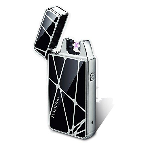 Padgene USB elektronisches Feuerzeug aufladbar dual lichtbogen (Silber)