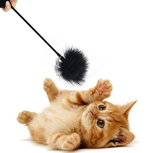 Plüsch Katze Teaser Zauberstab, Toys Feder Interaktives Spielzeug FUNNY PET Rod Kätzchen Chaser Fun Ausübung Katzen Sticks love-heart Griff Federn Türkei Wolle Bell