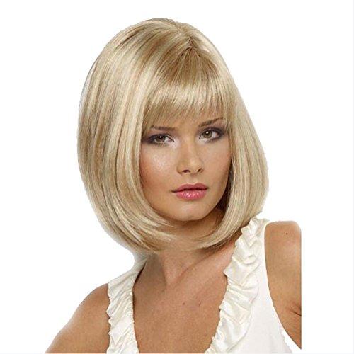 OOARGE Perücke Frauen Bob kurz Straight Blonde Schräge Simulation Kopfhaut Synthetische Haar Perücke , Gold