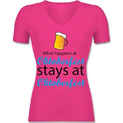 Oktoberfest Damen - What happens at Oktoberfest - Tailliertes T-Shirt mit V-Ausschnitt für Frauen Fuchsia