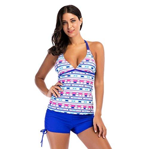 xinxinyu Frauen Bikini, {Frauen Geometrische Druck Tankini Sets} {Zwei Stück Badeanzüge} mit Shorts {Casual Bademode} Beachwear Größe S blau (Badeanzug Zwei Skirted Stück)