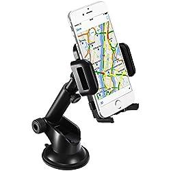 Mpow Supporto Auto Smartphone Culla Regolabile per Cruscotto Dashboard Parabrezza, Porta Cellulare con Forte Sticky, Gel Pad per iPhone 7 7 plus 6s Plus 6s 6 Plus 6 5s 5c 5 4s, Samsung Galaxy S6 Edge + S6 S5 S4 S3, Note 4 3 2, Sony, Huawei, Xiaomi
