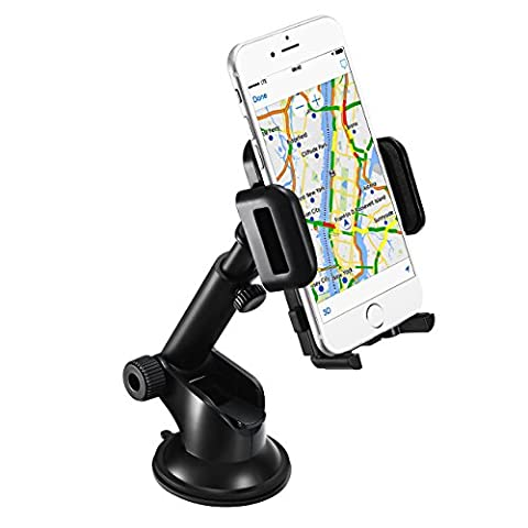 [18 mois Garantie] Mpow Support téléphone voiture, Rotation à 360°, avec la longueur désirée et l'angle du bras télescopique ,fixé stablement sur le tableau de bord pour iPhone 7 7Plus 6s 6s Plus 6 6 Plus,Nokia,Wiko,Huawei,Xiaomi,HTC,Sony et d'autres Appareils ( tous les appareils à largeur de 8cm à 13cm
