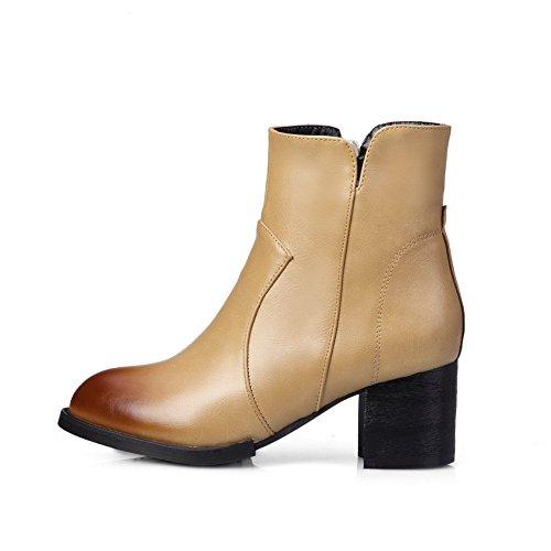AgooLar Damen Hoher Absatz Blend-Materialien Rein Reißverschluss Rund Zehe Stiefel, Aprikosen Farbe, 38