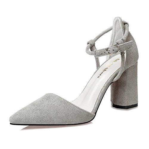 Scarpe da donna eleganti in camoscio scarpe da punta colorate da sera scarpe da donna classiche con tacco alto a spillo,gray-eu36=230