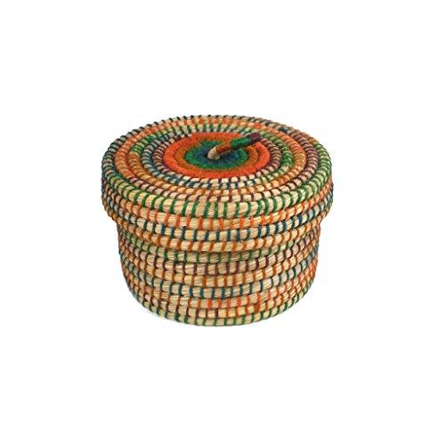 Krimskramskorb Ø 20cm | Aufbewahrungskorb mit Deckel | Handarbeit | Fair Trade