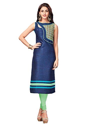 Manjuba Clothing Women's Navy blue Color Makhamali Silk Kurti