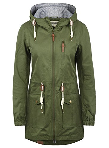 DESIRES Inata Damen Übergangsmantel Parka Lange Jacke Mit Kapuze, Größe:M, Farbe:Ivy Green (3797) Winter Parka