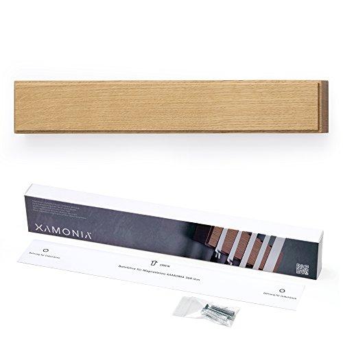 Xamonia® ML-MH Magnetleiste für Messer, Messerhalter, Messerleiste, Holz Eiche, an die Wand kleben ohne bohren, doppelte, starke Neodym-Magnete, 36 cm Eiche natur geölt (Kleben Messer)