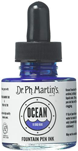 Dr Ph. Martin's Ocean Fountain Pen Ink, 1.0 oz, Edge Blue (1E) (Blue Edge)