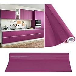KINLO Tapeten küche Lila 2 Stk. 61x500cm aus hochwertigem PVC klebefolie aufkleber küchenschränke Wasserfest Möbelfolie für schrank selbstklebende folie küchenfolie Dekofolie küche