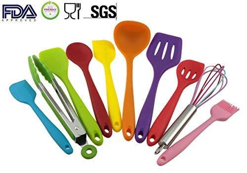 10PCS Silikon Utensilien Set, hitzebeständig, Antihaft, Sicherheit Gesundheit, Silikon Backform Werkzeug Sets (Multicolor) Spoonula Set