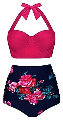Angerella Damen Retro Stil Polka-Punkt mit Hoher Taille Badeanzug Bikini Set, Rosa, EU46-48=Tag Size 4XL