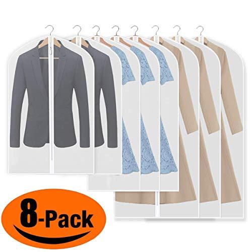 iToncs Kleidersack, staubdichte Anzugstaschen, (8 Stücke) Transparent [120 x 60 cm + 100 x 60 cm + 80 x 60 cm], für Anzüge Kleider Mäntel Sakkos Hemden Abendkleider Anzugsack Aufbewahrung -