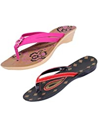 Indistar Women Comfortable Flip Flop House Slipper And Sandal-Black/Red/Brown+Pink- Pack Of 2 Pairs
