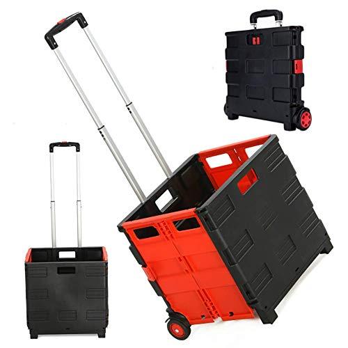 Xyfw 65L Einkaufstrolley Einkaufswagen Klappbar Bis 40Kg, Einkaufstransportwagen Klappbox Shopping Trolley Faltbox Mit Rollen,Verstellbarer Griff,M -