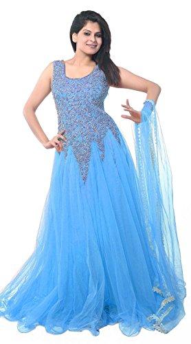 Market Magic World Women's Soft Net Semi stitched Anarkali Salwar Suits Sets (Free Size_ Firozi _Dress_MMW2256)