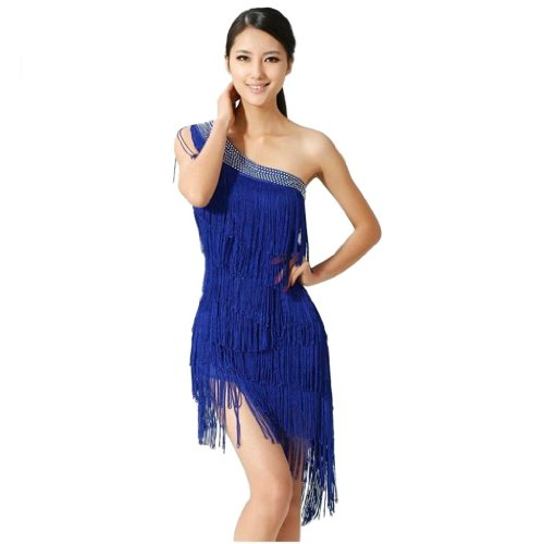 Donna Swing Ballroom Salsa Samba Rumba Tango Ritmo latin dance dress Blue Taglia unica