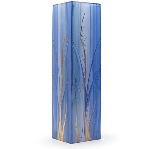 Angela neue Wiener Werkstaette Glasvase veredelt, Glas, Hellblau/blau, 8 x 8 x 30 cm