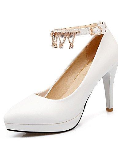 WSS 2016 Chaussures Femme-Bureau & Travail / Décontracté-Noir / Rose / Blanc-Gros Talon-Talons / Bout Pointu-Talons-Polyuréthane white-us10.5 / eu42 / uk8.5 / cn43